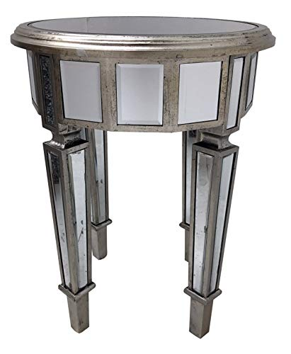 Interiors In Vogue Mirrored End Table Round Furniture Home Decor Venetian Bedside Bedroom Glass