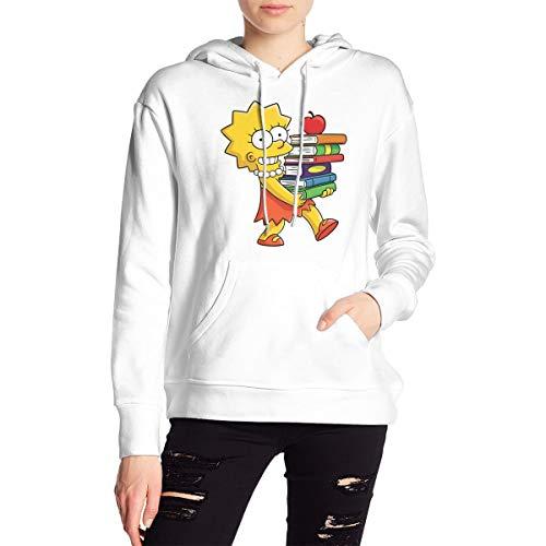 Qmad Women's Sim_psons Lisa Books Beautiful Kangaroo Pocket Sweatshirt with Hat for Work White