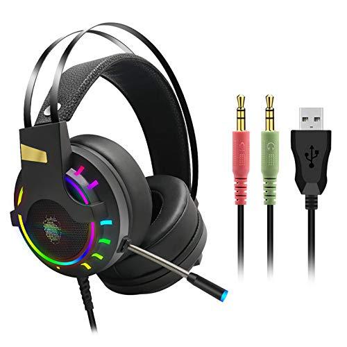 Auriculares Estéreo para JuegosAuriculares con Sonido Estéreo para Juegos RGB con Graves con Cable USB De 7.1 Canales Y 3,5 Mm con Micrófono Orejeras De Memoria Suave (Size:Small; Color:3.5mm+USB)