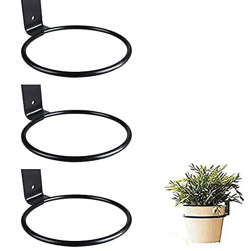 Soporte para macetas de flores, montaje en pared, juego de 3 soporte plegable de hierro negro, soporte para colgar barandillas, soporte para macetas (6 pulgadas)