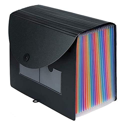 Semoic Carpeta de Archivos Expandible 24 Bolsillos Organizador de Archivos Rainbow A4 PortáTil Caja de Archivo de Documentos en AcordeóN de Pie