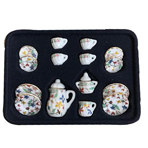 1:12 Bambola in legno ornamento ceramica mini set da tè set creativo set da tè mini cucina giocattolo bambola domestica accessori colorati fiori stile 15 pz casa casa mobili per famiglie in miniatura