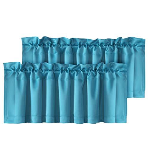 "H.VERSAILTEX 2 Panels Blackout Curtain Valances for Kitchen Windows/Bathroom/Living Room/Bedroom Privacy Decorative Rod Pocket Short Winow Valance Curtains, 52"" W x 18"" L, Turquoise Blue"