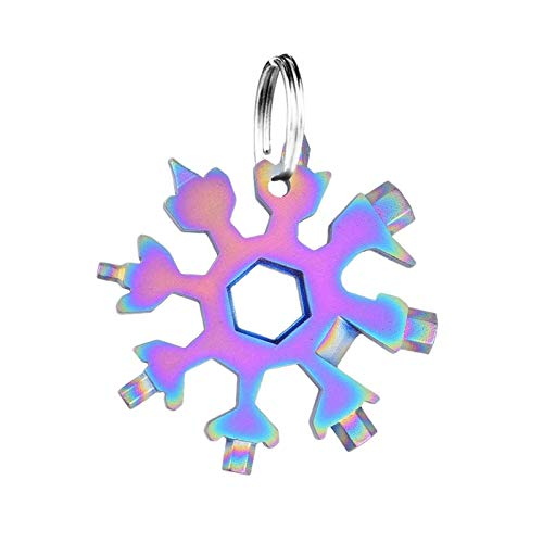 18-in-1 Schneeflocken Multi-Tool,Multitool Edelstahl Fahrrad Multifunktionswerkzeug,Karte Schlüsselanhänger Flaschenöffner Ringschlüssel Schnee Schlüsselbund,werkzeug schneeflocke (Farbe)