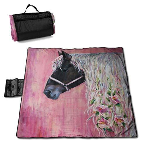 Singledog Picknickdecke Floral Pink Horse Girl Strandmatte Tote für Camping Wandergras Reisen 145X150CM
