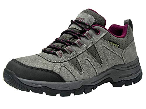riemot Women's Hiking Shoes Waterproof Lightweight Walking Trekking Camping Shoes Breathable Non-Slip Outdoor Trail Running Sneakers Grey Wine US 8/EU 39