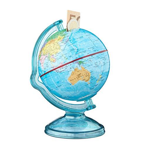 Relaxdays 10021013 Spardose Globus HxBxT: 16,5 x 14 x 14 cm, politische Weltkarte, englische Beschriftung, Weltkugel, bunt