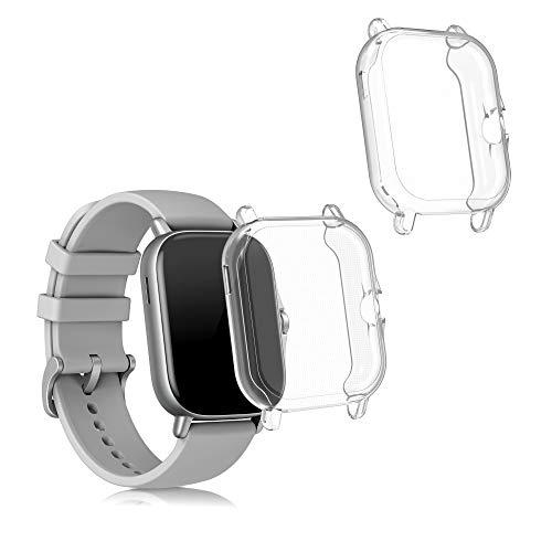 kwmobile Set 2X Compatibile con Huami Amazfit GTS 2   2e Cover Protettiva - Custodia Full Body Smartwatch - in Silicone - Trasparente
