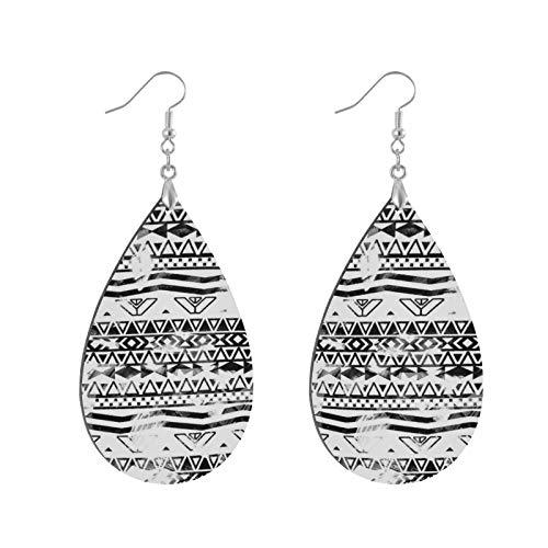 Fashion Teardrop Wooden Earrings Drop Dangle Earings Modern Black And White Brushstrokes Aztec Pattern Teardrop Earring Round Circle Earring For Women Girl (1Pair)