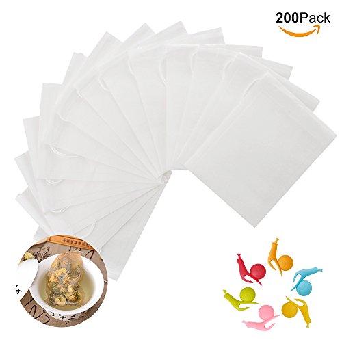 Ionlyou, lotto di 200 bustine filtro per il tè usa e getta, con 6 supporti per bustine da tè in silicone, a forma di lumaca, per infusi, erbe, caffè e altro