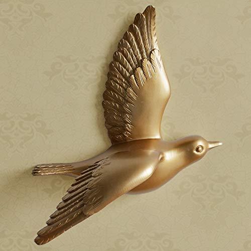 GJXDHWZ Statue Harz vögel kreative für Wand 3D Aufkleber Wohnzimmer tierfigur wandbilder tv Wand Hintergrund dekorative wohnkultur vögel, goldene a
