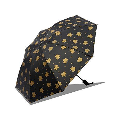 Dyyicun12 zonnescherm opvouwbare paraplu, handmatige drievoudige opvouwbare esdoornblad paraplu anti-uv-winddichte parasol