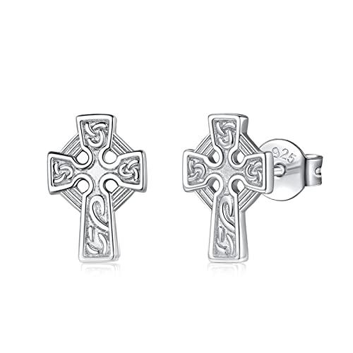 INFUSEU Cross Earrings for Women Sterling Silver Celtic Knot Stud Earrings Girls Cute Small Irish Jewelry