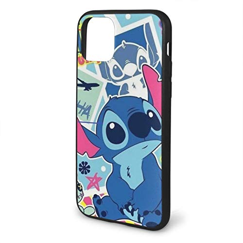 Houte Lilo & Stitch Compatible with iPhone 11 12 PRO Max XR XS Max 6/7/8 Plus SE 2020 Case TPU Fall Protection Black Phone Cases Cover