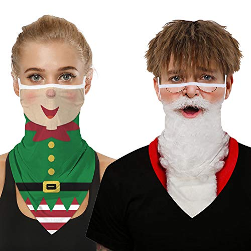 Ainuno Santa Gaiter Mask Green Elf Mask Funny Santa Face Covering Elves Printed Funny Christmas Mask for Men Women Adults Half Face Ugly Xmas Bandana Mask Neck Gaitor Christmas Vacation Holiday