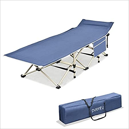Purenity Stable Camping Cot Portable Folding Beach Bed with Decent Storage Bag.