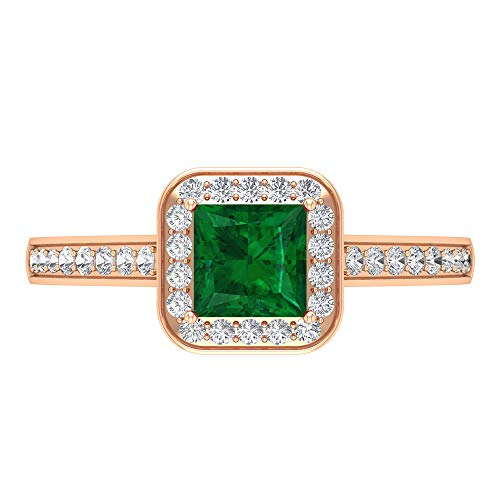 Lab Created Emerald Ring, HI-SI Diamond Halo Ring, Gold Solitaire Ring with Side Stones (5 MM Princess Cut Lab Created Emerald), 14K Rose Gold, Size:UK L1/2