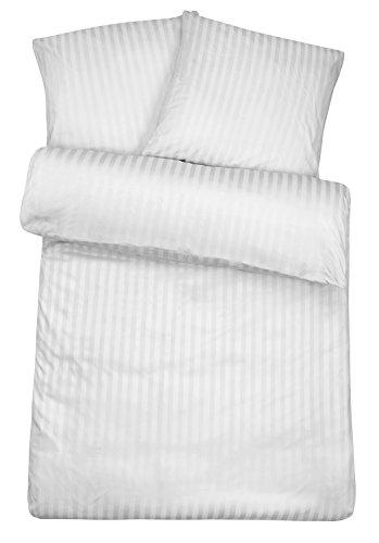 Carpe Sonno Luxus Damast Bettwäsche 135 x 200 cm Weiß - aus 100% Baumwolle robuster Qualitäts Reißverschluss - Weiße luxuriöse Hotelbettwäsche und Kopfkissen Bezug Set mit edlen Damast-Streifen