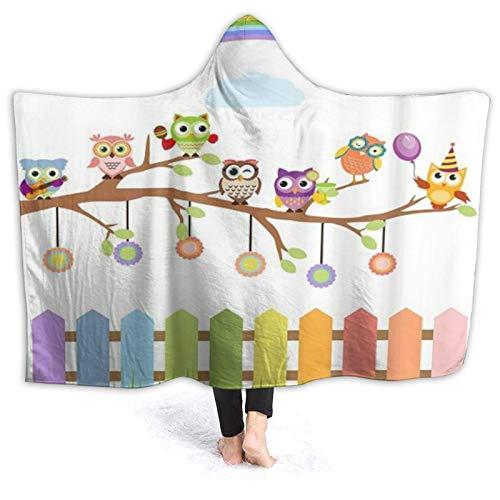 HATESAH Tragbare Hoodie Decke,Eulen auf einem Zweig Regenbogen in ländlichen...