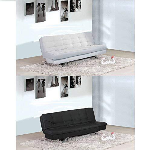 Bagno Italia Divano Letto in Ecopelle Bianco o Nero 192x87 Sofa reclinabile Soggiorno Eleonora I