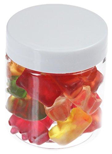 Pot de PET 75 ml transparent, avec couvercle en plastique, blanc, 10 pièces