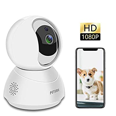 Peteme Pet Dog Camera,Baby Monitor, 2.4GHz WiFi 1080P Security Camera Indoor with Night Vision,2 Way Audio and Motion Detection