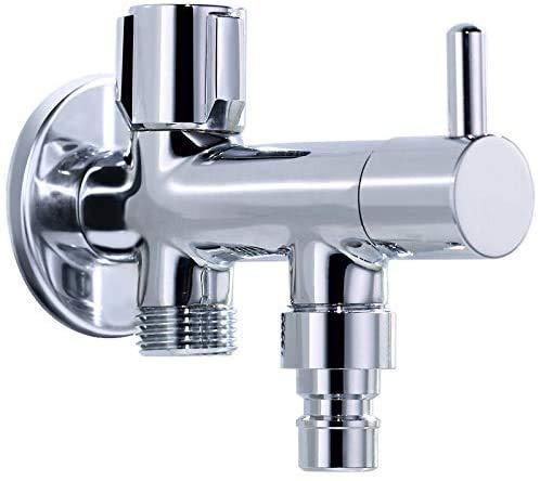 Shurong Grifo de doble cabeza para lavadora, válvula de ángulo de doble uso, grifo de tres vías, desviador de inodoro de uno en y dos hacia fuera, utilizado para lavadora, inodoro, fregadero
