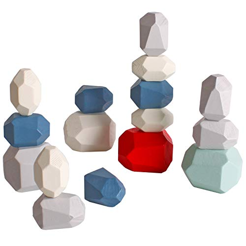 Dinhon Wood Stone Stacking Game Wooden Building Block Set Lightweight Natural Balance Weight Colorful Rock Block Educational Educational Toy