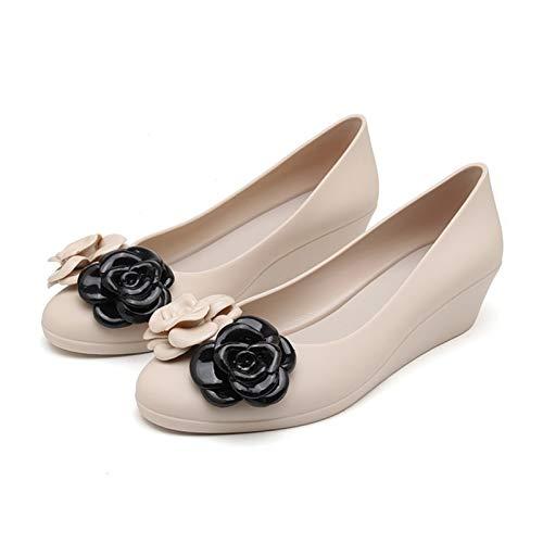 Zapatos Gruesos para Mujer, patrón de Flores de Fondo Suave, al Aire Libre, Primavera y otoño, Zapatos de cuña para Caminar de Ocio Resistentes al Desgaste
