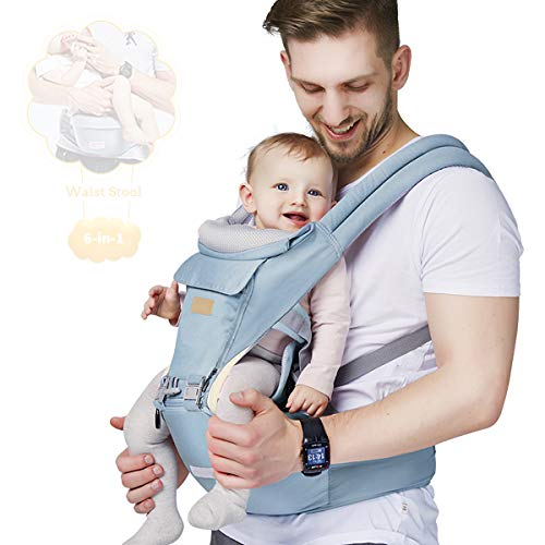FRUITEAM Baby Carrier, 6-in-1 Baby Carrier With Waist Stool, One Size Fits All -Adapt to Newborn, Baby Hip Carrier for Breastfeeding, Infant & Toddler