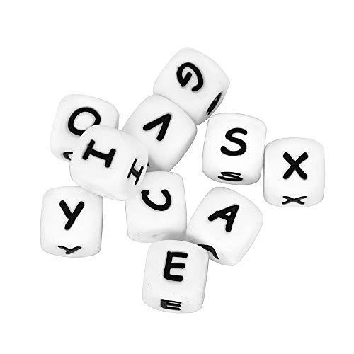 las letras son a elegir cuentas silicona llaveros personalizado con nombre 20 letras RUBY Pack de 20 letras de silicona para bebe sonajeros para hacer chupeteros collares