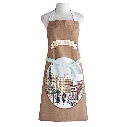 Coucke Tablier J'aime Paris, Coton, Marron, 82x70 cm