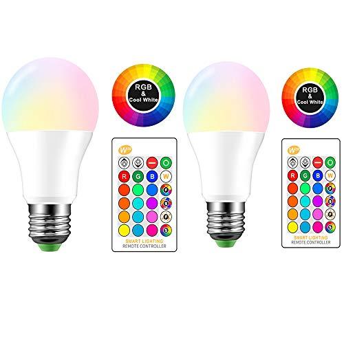 Bombilla LED con control remoto, 10W, E27 RGBW Regulable con cambio de varios colores con función de memoria E27 Iluminación ambiental para decoración del hogar Stage Party 2 Pack (Blanco cálido)