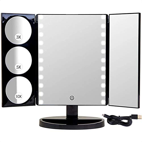X-Large LED Lighted Trifold Makeup Mirror - Battery and USB Powered - 10X 5X 3X Magnification - Touch Screen Dimmer Switch - 360° Rotation - High Definition Glass - Gift Box