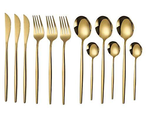 Kaishuai-Pisa Gold- Set de cubiertos de 12piezas con cuchillo chuletero,Modern Royal,Juego de cubiertos con baño de oro,cuberteria dorada,Set de cubiertos de mesa