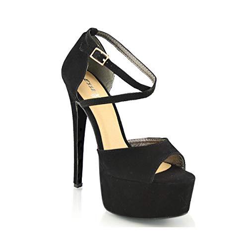 ESSEX GLAM Sandalo Donna Peep Toe con Lacci Plateau Tacco a Spillo Alto (UK 4 / EU 37 / US 6, Nero Finto Scamosciato)