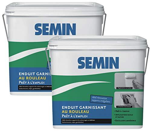 Semin A06288 Enduit Garnissant au Rouleau pour la Rénovation des Supports très Endommagés, Intérieur, Seau de 10 kg (Lot de 2)