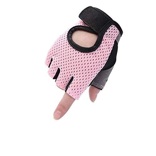 persönlichkeit Fitness Half Finger Handschuhe männer und Frauen Training Gym hantel Yoga Slip Outdoor Sports reiten Butterfly mesh atmungsaktive dünnschliff (Color : Pink, Größe : S)