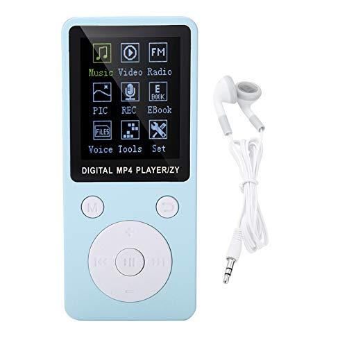 Reproductor de MP3   MP4 Portátil Compatible con Música, Radio, Grabación, Video,Libro Electrónico, Soporte Incorporado hasta 32G Tarjeta de Memoria con Tiempo de Espera Largo para Auriculares(Azul)