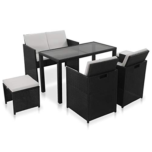 vidaXL Gartenmöbel 6-TLG. Schwarz Poly Rattan Lounge Sitzgruppe Gartengarnitur