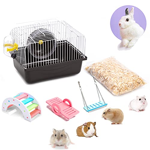Portable Hamster Cage with Running Exercise Wheels, Water Bottle, with Rainbow Hamster Toys and Sawdust, for African Miniature Rabbit Chinchilla Squirrel and Other Small Animals (Brown)