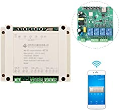 WHDTS 4 Channel WiFi Momentary Relay Delay Switch Module Inching/Self-Locking/Interlocking Smart Home Remote Control AC 220V Compatible with Alexa Google Assistant iOS Andriod 2G/3G/4G Network