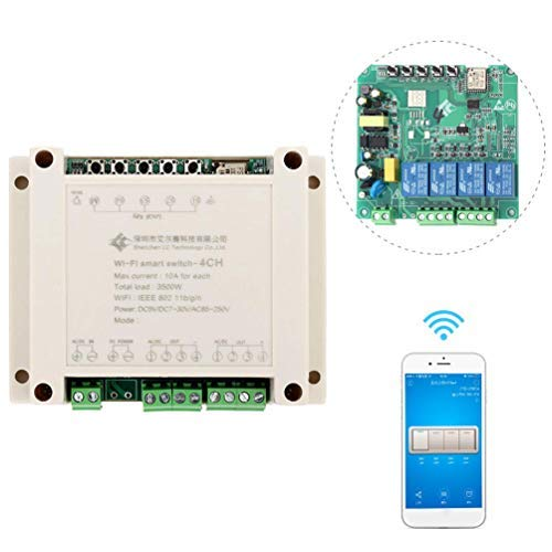 WHDTS 4 Channel WiFi Momentary Relay Delay Switch Module Inching Self Locking Interlocking Smart Home Remote Control AC 220V Compatible with Alexa Google Assistant iOS Andriod 2G 3G 4G Network