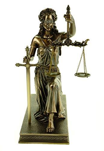 Veronese Design Justitia figuur 25 cm sculptuur met weegschaal en zwaard van Godin van rechtvaardigheid BGB Modern wet