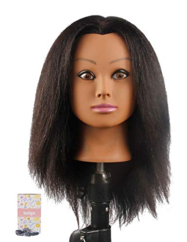 Kalyx African Mannequin Head Real Hair for Cosmetology Manikin Maniquins Hairdresser Practice Training Head Doll Head and Table Clamp Stand(B12)