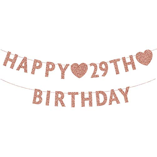 Rose Gold 29th Birthday Banner, Glitter Happy 29 Years Old Woman or Man Party Decorations, Supplies