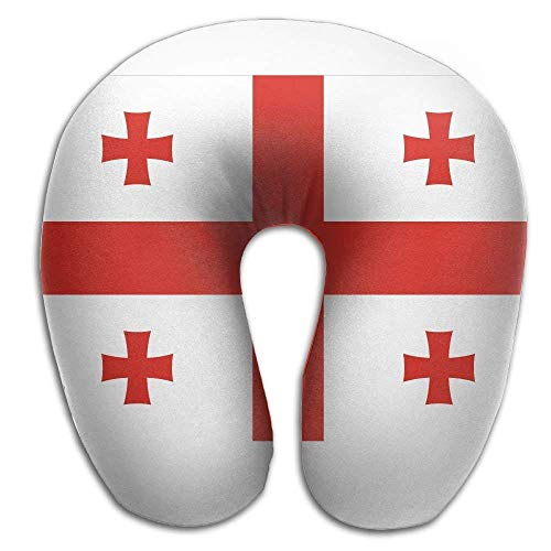 sfdgd Almohada en Forma de U National Flag of Georgia Neck Pillow Creative U Type For Travel Camping Cervical Pillows with Resilient Material