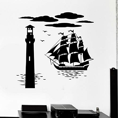 yuandp Fotobehang schip Vuurtoren zee zeeocean vinyl muursticker avontuur thema kunst wandfoto jongen kind slaapkamer kleuterschool 57x58 cm AB