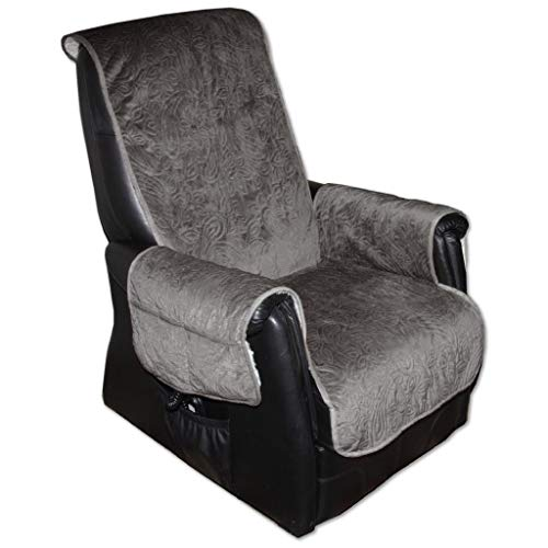 Sesselschoner Polsterschoner Sesselauflage Überwurf gesteppt, Größe ca.: 160 x 150 - Farbauswahl: grau - anthrazit