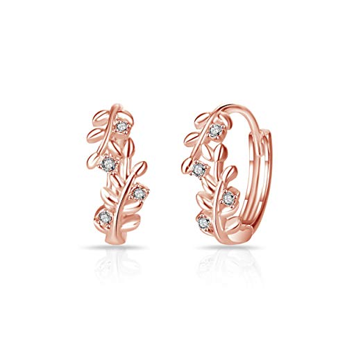 Rose Gold Leaf Hoop Earrings Created with Austrian Crystals